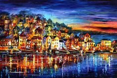 "Quiet Town — PALETTE KNIFE Cityscape Oil Painting On Canvas By Leonid Afremov - Size: 40"" x 30"" (100cm x 75cm)"