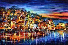 "Quiet Town — PALETTE KNIFE Cityscape Oil Painting On Canvas By Leonid Afremov - Size: 40"" x 30"" (100cm x 75cm)"