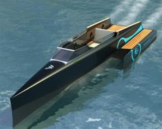 Odonata Electric Boat Concept for by Tanguy Bihan Fishing Pontoon, Pontoon Boat, Cool Boats, Small Boats, Yacht Design, Boat Design, Blockchain, Barge Boat, Sailing Dinghy