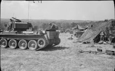 A Cromwell tank at 22nd Armoured Brigade workshops, 7th Armoured Division, Villers Bocage, 13 August 1944.