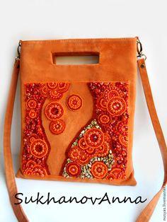 """Купить Сумка """"Оранжевый закат"""" - оранжевый, сумка с кораллом, сумка замшевая, сумка оранжевая"""