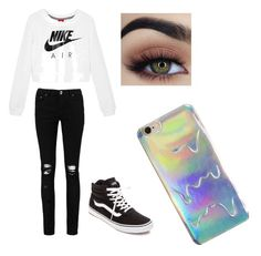 A fashion look from April 2017 featuring crew shirt, skinny leg jeans and canvas hi tops. Browse and shop related looks. School Outfits, Outfits For Teens, Crew Shirt, Boohoo, Vans, Fashion Looks, Skinny, Nike, Polyvore