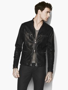 John Varvatos Leather Jacket With Chain Detail - Black 56 Leather Jacket Outfits, Men's Leather Jacket, Leather Jackets, Designer Jackets For Men, John Varvatos, Mens Fashion, How To Wear, Detail, Black