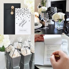 I think this little Oscars party invite is simple, elegant and gorgeous! Love the black envelope too!
