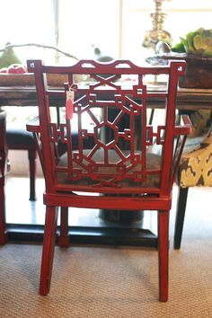 Abode Fine Living | dining chair | garden chair | red chair | geometric chair | geometric style | pop of color |