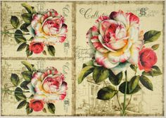 Rice Paper for Decoupage Decopatch Scrapbook Craft Sheet Painted Roses Cards