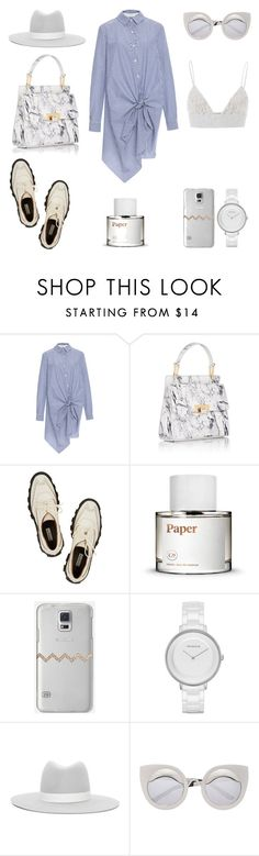 """""""Shirt Dress + Creepers"""" by fashionlandscape ❤ liked on Polyvore featuring Thakoon Addition, Balenciaga, Casetify, Skagen, Janessa Leone and MSGM"""