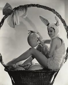 vintage photo, giant easter basket with bunny girl and giant eggs