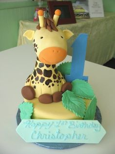 Cute giraffe cake Giraffe Cupcakes, Giraffe Party, Cute Giraffe, 1st Birthdays, 3rd Birthday Parties, Birthday Ideas, Beautiful Cakes, Amazing Cakes, Fondant Cakes
