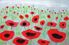 Second grade studied perspective to create these stunning poppy paintings. They first drew a horizon line on either light blue or light gr. First Grade Art, 2nd Grade Art, Second Grade, Grade 2, Remembrance Day Activities, Remembrance Day Art, Ecole Art, School Art Projects, Spring Art