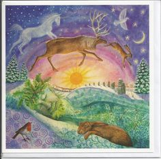 HOLLY KING DREAMING, YULE CARD BY WENDY ANDREW