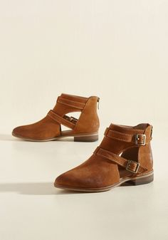 And the Crowd Goes Styled Bootie - Brown, Solid, Buckles, Cutout, Work, Casual, Minimal, Fall, Flat, Low, Better, Ankle, Brown, Saturated, Leather