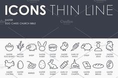 Easter thinline icons by Palau on @creativemarket