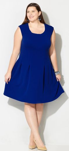 Plus Size Pleated Fit and Flare Dress