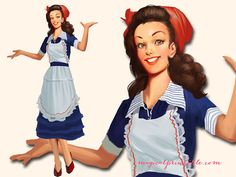 1950's Housewife Clipart Retro Woman with an by MagicalStudio