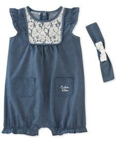She'll love to wiggle and play in Calvin Klein's adorable chambray romper, paired with a matching headband to complete her look. | Cotton/polyester | Machine washable | Imported | Round neck with lace
