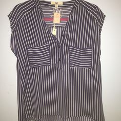 ❣Navy multi-way striped top Navy blue top with horizontal and vertical stripes. Pocket on front. Brand new from small boutique. Ya Los Angeles Tops Tees - Short Sleeve