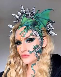 Create your own game of thrones dragon halloween makeup using vibrant colors of green, blue, yellow and orange. created this look using all Urban Decay makeup products. makeup videos easy Game of Thrones Sfx Makeup, Costume Makeup, Makeup Art, Bird Makeup, Urban Decay Makeup, Glitter Carnaval, Maquillage Halloween Simple, Dragon Makeup, Dragon Halloween