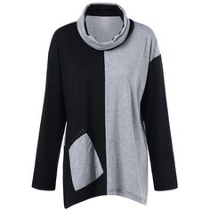 16.5$  Buy here - http://dit2y.justgood.pw/go.php?t=202681401 - Plus Size Cowl Neck Zip Pocket T-Shirt 16.5$