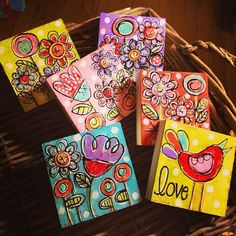 Mixed media paintings by Gina McKinnis on 3x3 wood blocks.   Flickr - Photo Sharing!
