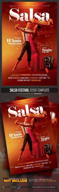 Salsa Festival #Flyer Template - Clubs & Parties #Events Download here:  https://graphicriver.net/item/salsa-festival-flyer-template/20314367?ref=alena994