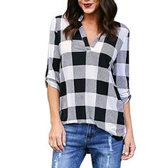 89fdaf27829 Angashion Women s Casual Plaid V Neck Roll Up Sleeve Loose Boyfriend Tops  Blouse Shirt Black S