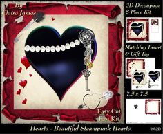 Love Hearts Valentines Steampunk Heart 89b2 Tag  on Craftsuprint - Add To Basket!