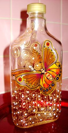 Bottle Art on Glass Hand Painted Yellow by skyspirit8studios, $45.00