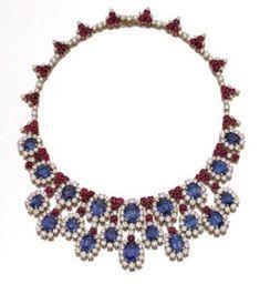 Platimun, Sapphire, Ruby And Diamond Necklace - Bulgari