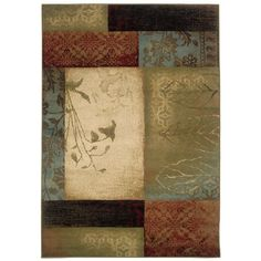 "Target ""Lotus Garden"" area rug (blues, greens, reds, browns)"