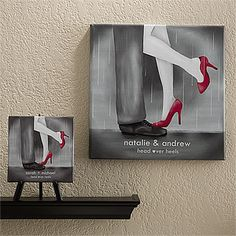 """Head Over Heels"" Personalized Canvas Art .... another great wedding gift idea! This can also be used as a wedding guestbook! Just have all the guests sign around the design and you have a personalized piece of art for your new home ... super cute! Great Christmas gift idea for newlyweds, too! It's only $32.95 at PersonalizationMall! #Wedding"