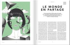 Jean Leblanc, illustrations for an article about the new behaviours of consummation in TGV Magazine. Two colour (green and black) is bold and unusual. Less literal than many editorial illustration, as a set (over several double page spreads) the images start to tell a more cohesive story.