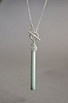 Delicate Wave Jasper Bar Necklace Grey Stick by getawaygirl, $58.00