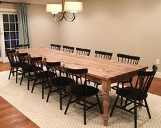49 Splendid Farmhouse Table Ideas For Dining Room. Farmhouse table is a rustic style type of furniture and it is an important part of French country lifestyle. The most common type of farmhouse tables. Wood Table Rustic, Barn Table, Farmhouse Kitchen Tables, Long Wood Table, Wooden Kitchen, Rustic Table And Chairs, Retro Kitchen Tables, Kitchen Ideas, Long Tables