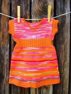 Handmade knitted dress for little girls