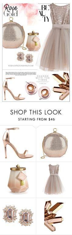 """ROSE GOLD: festive look."" by arwitaa ❤ liked on Polyvore featuring Whiteley, Liliana, Halston Heritage, Illume, Little Wardrobe London and Martha Stewart"