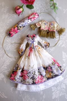 https://flic.kr/p/dqXoty | For Annie ≈ Russian Senteurs ≈ | The whote set   This set consists of - A long dress cut in an large cotton handkerchief with floral border, with special puffed sleeves and a V sailor collar ended by a little bow. A lot of pink beads enhance the design of the printed border. - A petticoat in silky white cotton batiste edged with a light small lace - An headband in the same assorted fabrics I used for this set - A short jacket in silk lampas brocade fully…