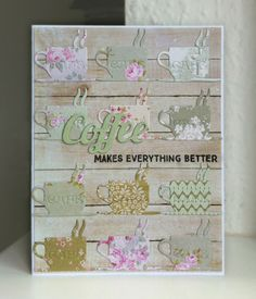 Card cup cups coffee latte mocca Scripty words and letters, Studiolight background paper, Tilda Paper Applebloom, Seaside Life etc -  kort kop kopper kaffe  - JKE