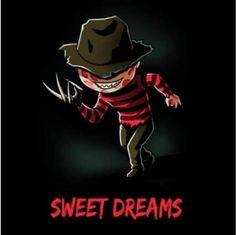 Freddy Krueger Sweet Dreams T-Shirt Horror Cartoon, Horror Movies Funny, Horror Movie Characters, Horror Icons, Scary Movies, Horror Stories, Chibi, Horror Show, Horror Art