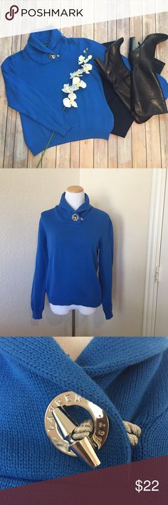 """Ralph Lauren toggle detail sweater This sweater is a classic, made fresh with the bold silver toggle detail at the collar. The royal blue color is a stand out and flatters every complexion. 100% cotton, 40"""" bust, 23"""" long Lauren Ralph Lauren Sweaters"""