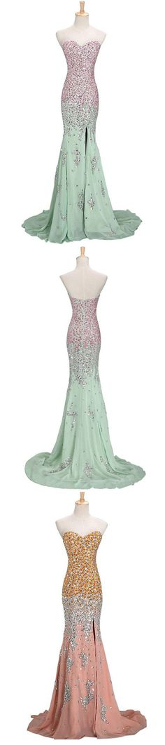 Prom Dresses with Beading, Luxurious Prom Dresses, 2016 Prom Dresses, New arrival prom dresses, prom dresses with split side, prom dresses with colored beaded
