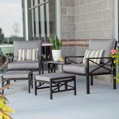 On the Madison Outdoor Balcony Chat Set , survey every corner of your kingdom, from condo to loft to off-campus chateau. The chairs, table. Steel Furniture, Dining Furniture, Rustic Furniture, Home Furniture, Furniture Design, Outdoor Balcony Furniture, Outdoor Sofa, Casa Patio, Outside Room