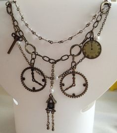 Clock, Gear, Cuckoo Clock, Key Chain Steampunk Necklace