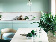 Minty Fresh! We like these. Keep your skin fresh with www.CellularSkinRX.com What Is the Next Big Kitchen Cabinet Color Trend? via @MyDomaine