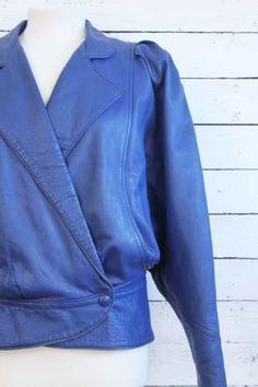 blue #eighties #vintage leather jacket. www.sugarsugar.nl