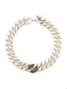 Estate Jewelry David Yurman Black Diamond & Silver Large Link Necklace