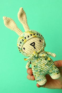 Amigurumi Bunny  Cute bunny with a hat  Hand dyed yarn