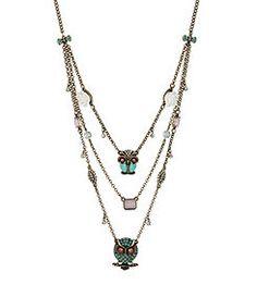 Betsey Johnson Vintage Owl Illusion Necklace