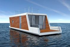 I like the clean modern style Floating Dock, Floating House, Living On A Boat, Tiny House Living, Houseboat Living, Houseboat Ideas, Lofts, Floating Architecture, Pavillion