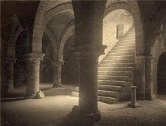 "Frederick H. Evans, ""Ancient crypt cellars in Provins"" 1910, Platinum print"